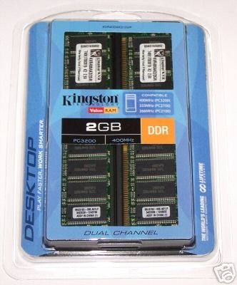 Kingston ValueRAM 2GB 2x 1GB DDR PC-3200 400MHz 184-pin Desktop Memory