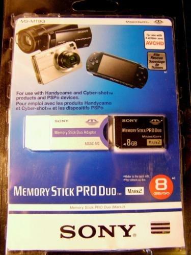 Sony 8GB Memory Stick Pro Duo 8 GB MSPD MARK 2 w/ Adapter