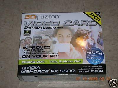 3DFuzion NVIDIA GeForce FX 5500 256MB 128-bit DDR PCI Video Card