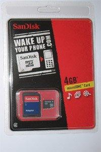 Sandisk 4GB MicroSD Secure Digital 4 GB Micro SDHC Card w/ Adapter