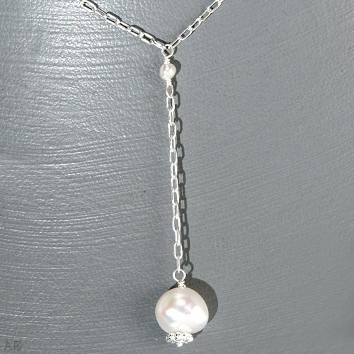 Natural Drop Pearl and SS necklace