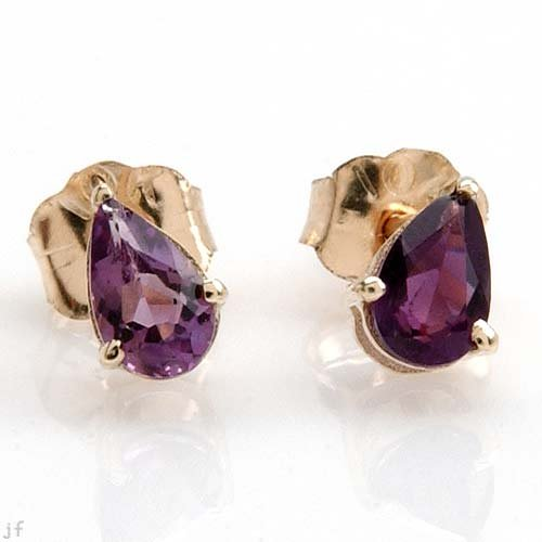 Genuine Amethyst Pear cut Studs