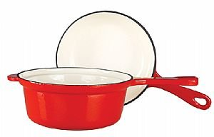 Kinetic-2-IN-1 = 1.3L saucepan with 17.5cm frypan lid- RED (creamy interior)