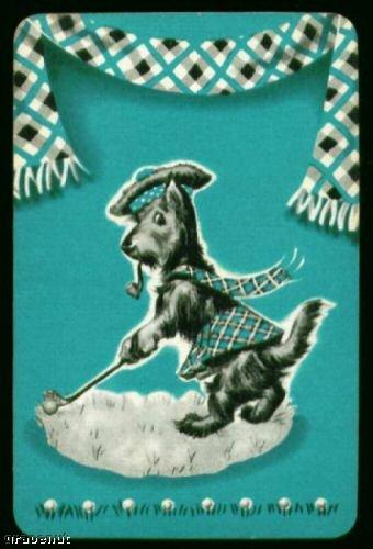 Vintage Miniature Golf Playing Card Scotty Dog Rare!