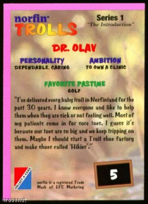 1993 Norfin Troll Golf Card #5 Dr. Olav Non-cataloged!