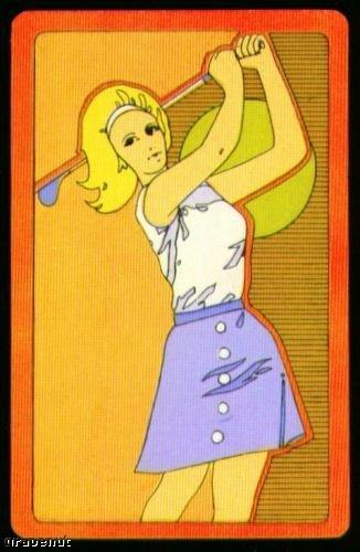 1970's Vintage Female Golfer Playing Swap Golf Card