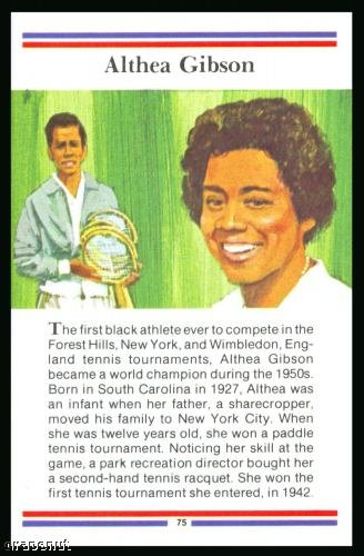1981 True Value Hardware Althea Gibson Tennis Golf Card