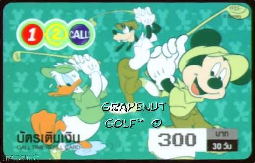 Disney Mickey Mouse Goofy Donald Duck Golf Phone Card
