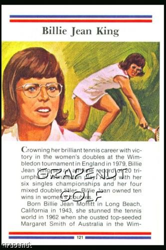 1981 True Value Hardware Billie Jean King Card Rare!