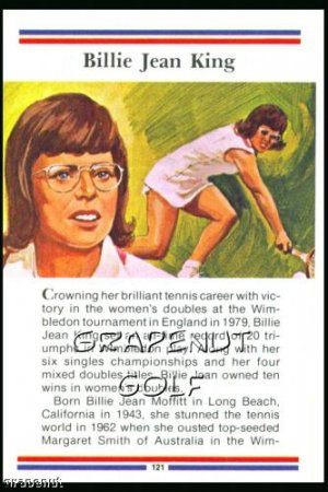 1981 True Value Hardware Billie Jean King Card Rare!