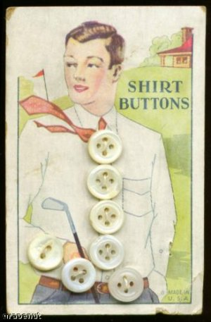 1920s Pearl Button Rare Version Golf Card Awesome Rare