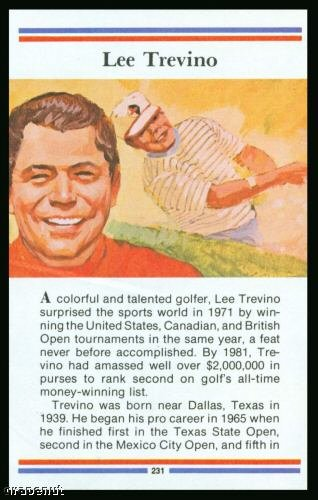 1981 True Value Hardware Lee Trevino Golf Card Rare