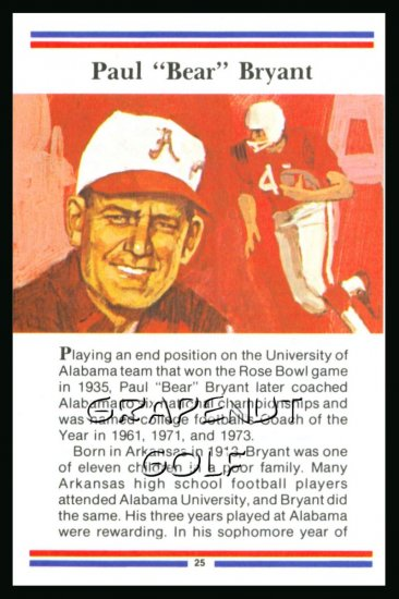 1981 True Value Hardware Bear Bryant Alabama FB Card