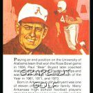 1981 True Value Hardware Bear Bryant Alabama FB Card