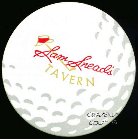 Sam Snead Tavern Vintage Coaster Hat PGA Golf Ball Card