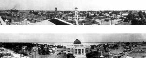 Two Panoramic Photos of Calcasieu Parish Court House & City Hall 1923 Lake Charles, LA