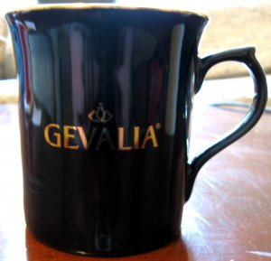 Black w/ Gold Trim Gevalia Signature 10 oz Mug/Cup EUC