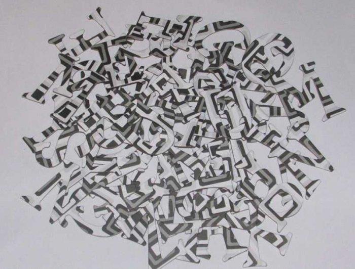 Scrapbooking Chipboard Fun Serif Alphabet - Black & White