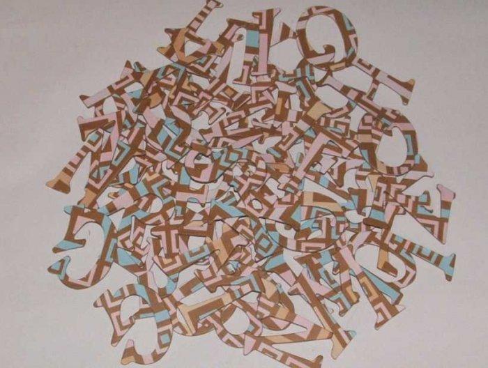 Scrapbooking Chipboard Fun Serif Alphabet - Brown/Pink Retro