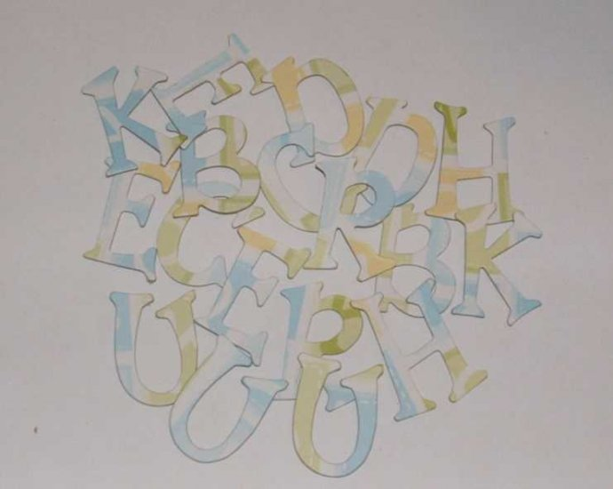 Scrapbooking Chipboard Fun Serif Alphabet - Yellow/Blue/Green