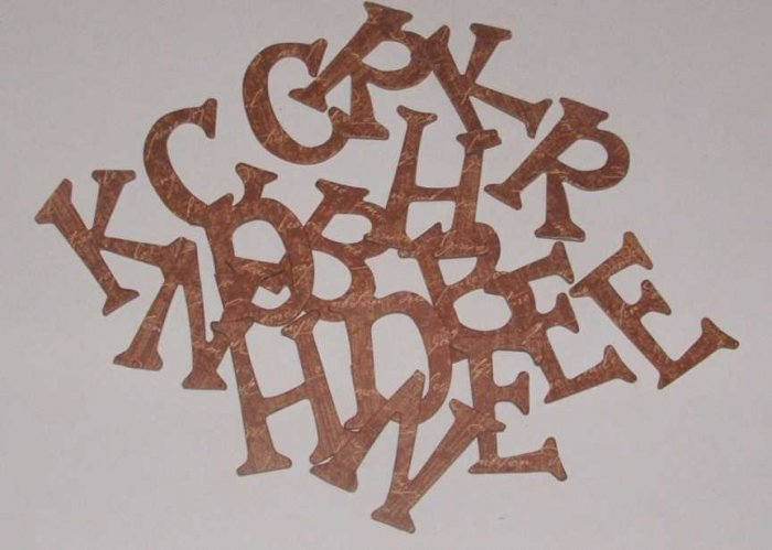 Scrapbooking Chipboard Fun Serif Alphabet - Brown Script