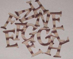 Scrapbooking Chipboard Fun Serif Alphabet - Textured Brown Stripes