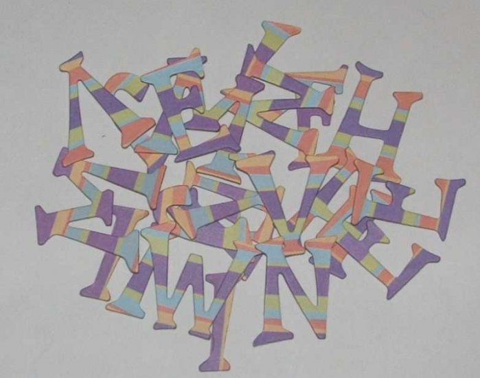 Scrapbooking Chipboard Fun Serif Alphabet - Fun Stripes