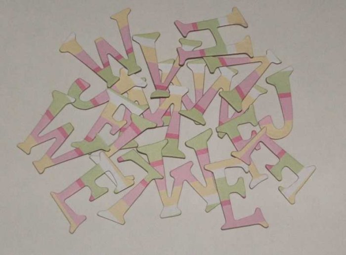 Scrapbooking Chipboard Fun Serif Alphabet - Pink/Yellow/Green Stripes