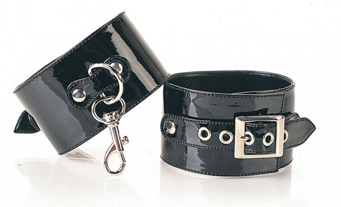 1 Pair Black Buckled Ankle Cuff with Slide Clasps