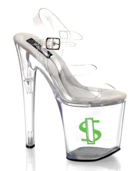 Women's 8 Inch Clear Hollow Platform Ankle Strap Shoes with Side Coin Slot & Glitter