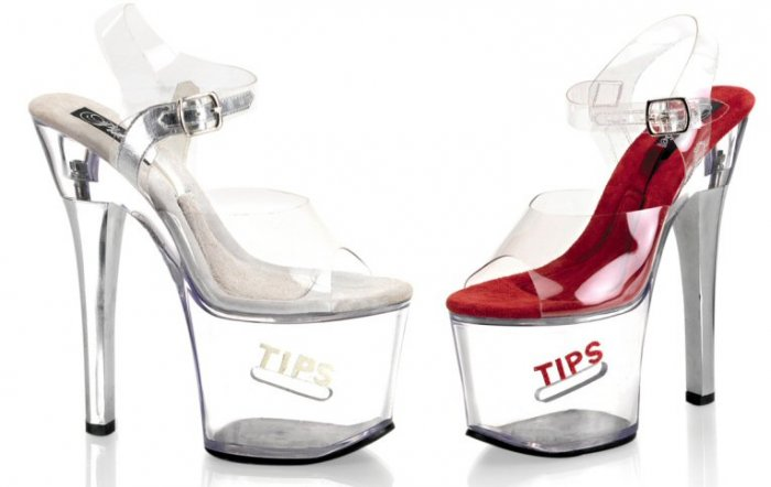 "Women's 7 Inch Clear Hollow Platform Shoes with Side Coin Slot and ""Tips"" Glitter"