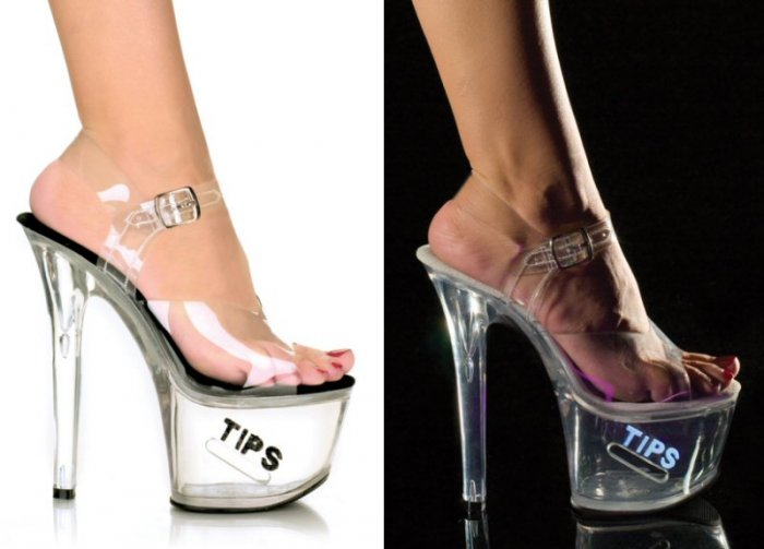 """Women's Clear Hollow Platform Shoes with Side Coin Slot and """"Tips"""" Glitter"""