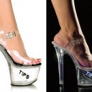 "Women's Clear Hollow Platform Shoes with Side Coin Slot and ""Tips"" Glitter"