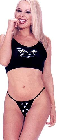 Kitty Print Crop Cami and Thong Set