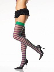 Punk EMO Pinup Girl Stripe Thigh Highs Purple/Green