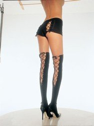 Lace up back thigh high stockings: Black or White