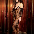 Bow Tie Lace Body Stocking with attached sleeves and open crotch.
