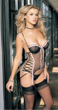 Lace Sides Bustier and Panty Set