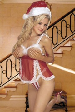 3 Piece Open Cup Babydoll Set with Lace & Fur Trim