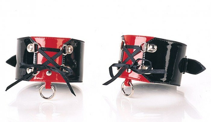 1 Pair Black & Red Ankle Cuff with Lace Up D-Ring Accent