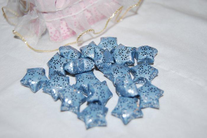 Silver patterned blue stars
