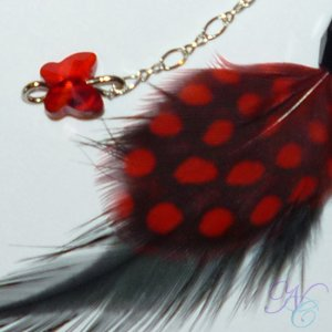 Red & Black Feather Earrings :  red black feather earrings swarovski crystals black earrings red earrings