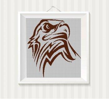 Tribal eagle head silhouette cross stitch pattern in pdf