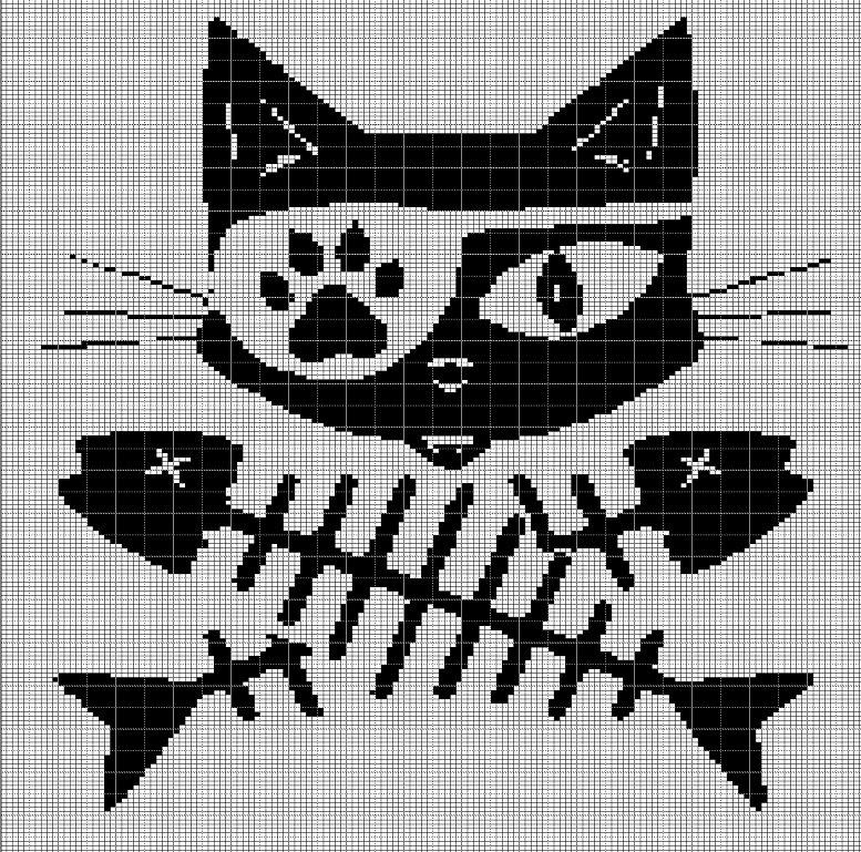 Cat Skeleton Crochet Afghan Pattern Graph