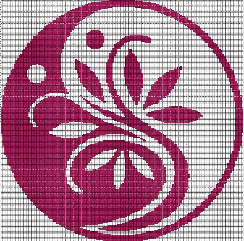 Yin Yang Flower Crochet Afghan Pattern Graph