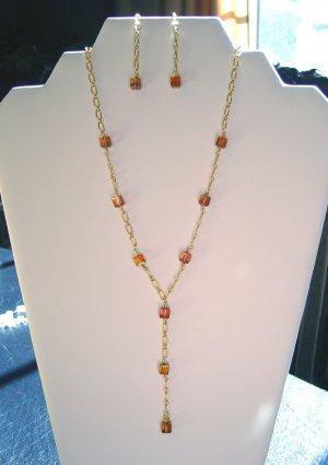 Crystal Copper Y Necklace