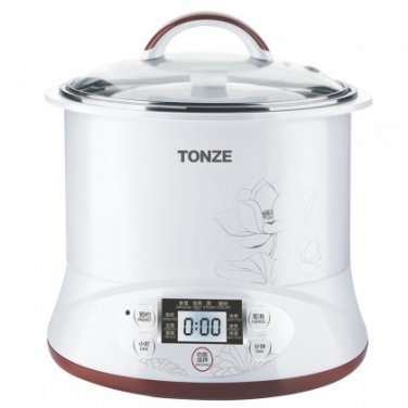 TONZE DGD22-22EG Healthy Smart 3 Ceramic Pot Electric Stew Pot, Slow Cooker Soup Maker