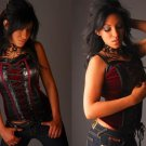 Junior / Missy Leather and Velvet Corset Top