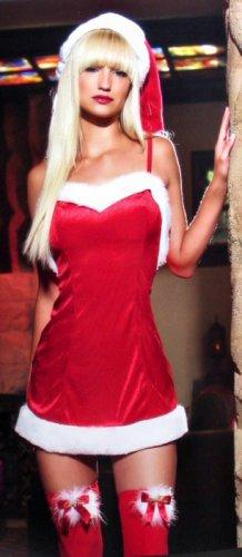 Velvet Santa Red & White Mini Dress with Plush Trim