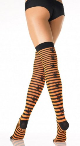 Striped Stockings with Rubber Spider Back Seam